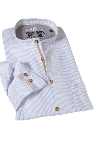 Leinen Trachtenhemd modern in weiß mit hellblau