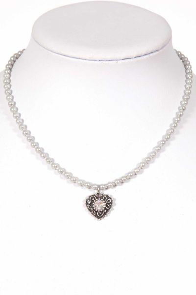Trachtenkette als Perlenkette in hellgrau