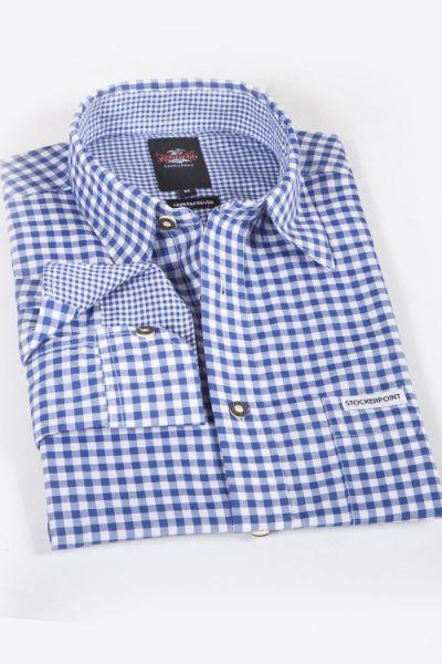 Trachtenhemd in blau mit weiß kariert königsblau 1