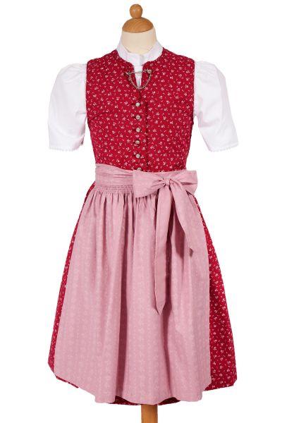 Kinder Dirndl Claudia aus Baumwolle in rot & rosa