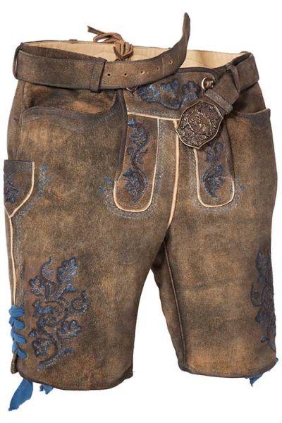 Kurze Lederhose Degenhard in braun mit blauem Stick