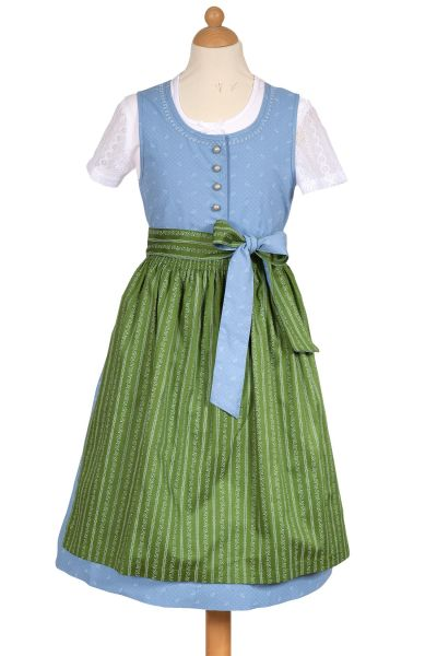 Kinderdirndl Annalena in blau aus Baumwolle