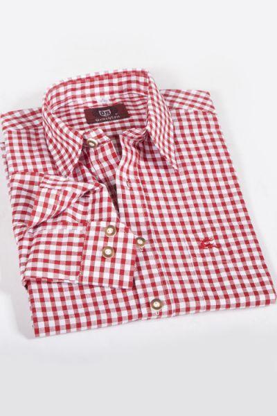 Trachtenhemd kariert rot weiß mittel 1