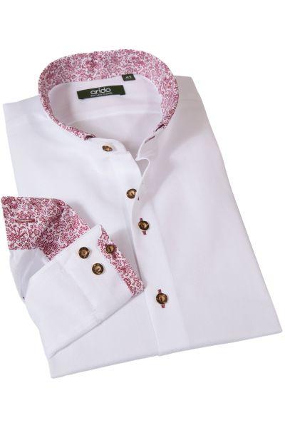 Weißes Arido Trachtenhemd mit roten Details