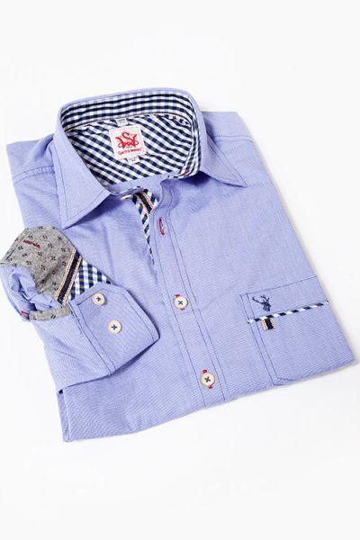 Trachtenhemd Enrico in blau weiß mit Brusttasche und Karos
