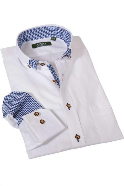 Trachtenhemd in Struktur weiß mit blauem Karo von arido