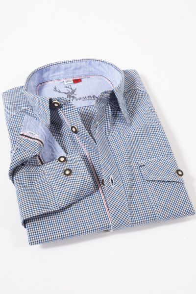 Trachtenhemd Erbach in blau braun