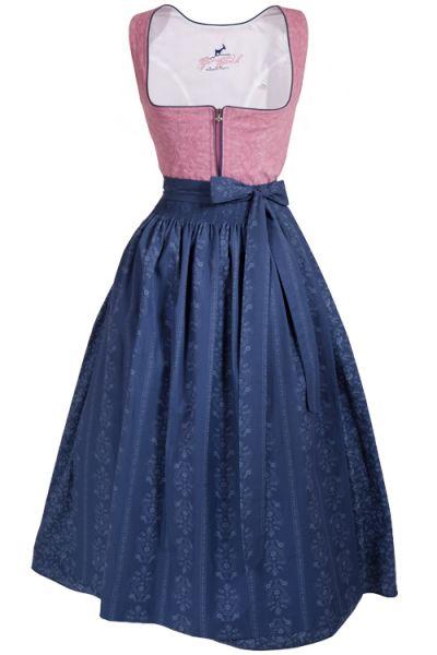 Langes Dirndl Lara in zartem rosa und feinem dunkelblau aus Baumwolle