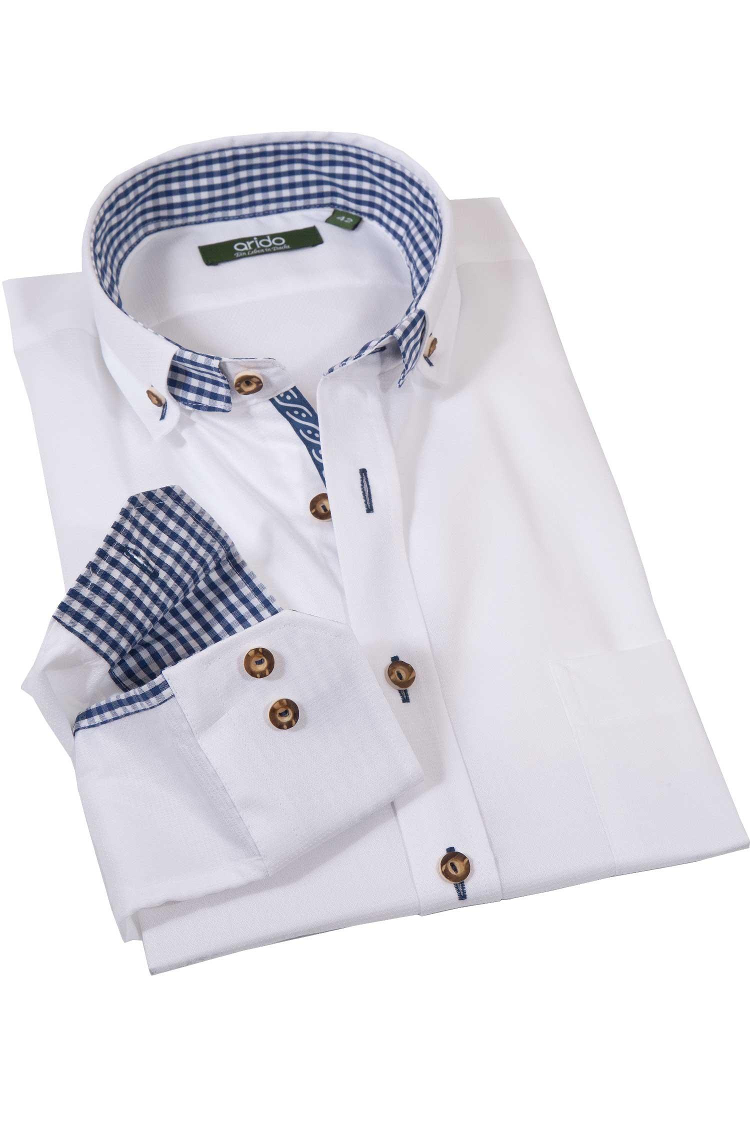Trachtenhemd edel weiß mit blau von arido   Wirkes e434555b64