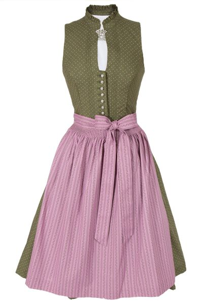 Midi Dirndl Oda hochgeschlossen in grün und rosa