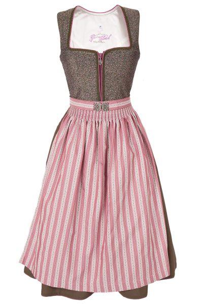 Midi Dirndl traditionell in olivgrün und rosa