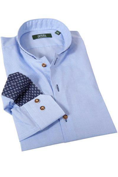 Trachtenhemd in kleinem Vichykaro hellblau