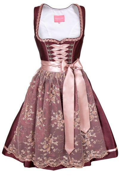 Edles Dirndl in bordeaux mit rosa Spitzenschürze
