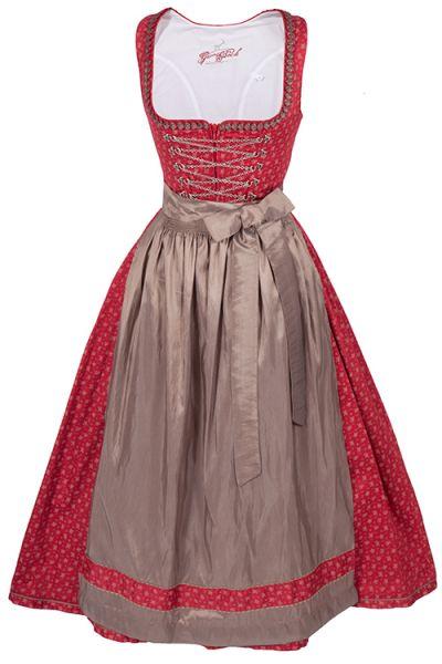 Langes Dirndl aus Baumwolle mit Streublümchen in rot und taupe