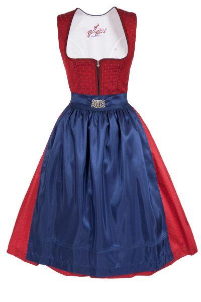 Midi Dirndl Laura in rot und dunkelblau mit Reißverschluss