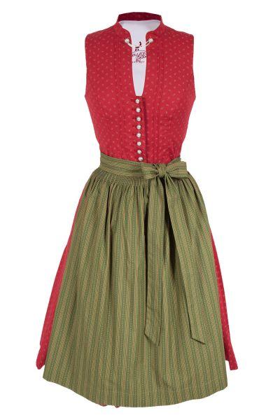 Midi Dirndl Rilka hochgeschlossen in rot und grün