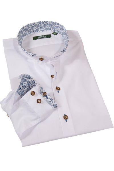 Exklusives Trachtenhemd in weiß mit blauen Blumen
