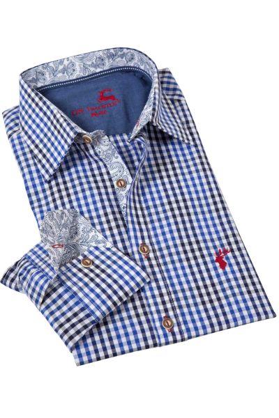 Trachtenhemd kariert in blau und dunkelblau