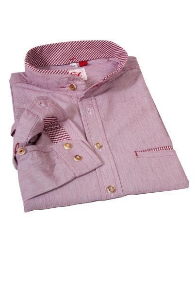 Trachtenhemd gestreift bordeaux mit Stehkragen