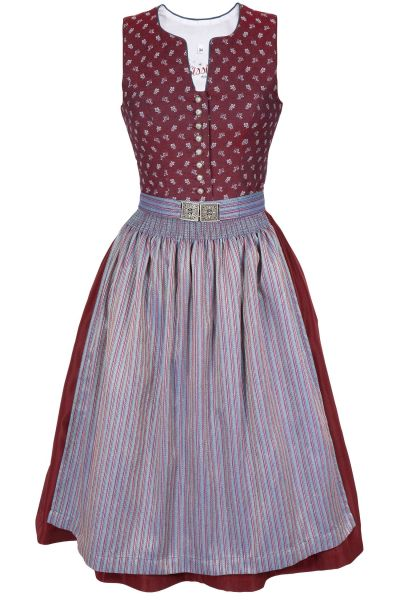 Midi Dirndl in bordeaux mit Retro Schürze in blau