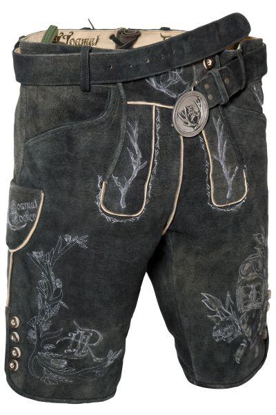 Schwarze Lederhose mit Rocker Stickerei