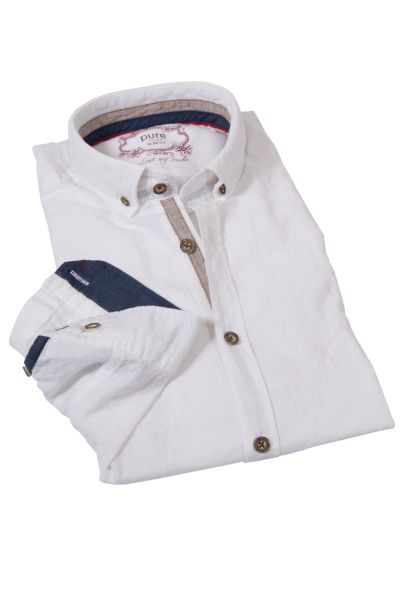 Trachtenhemd mit Leinen in weiß Slim-Fit