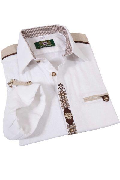 Landhaus Trachtenhemd weiß mit Krempelarm