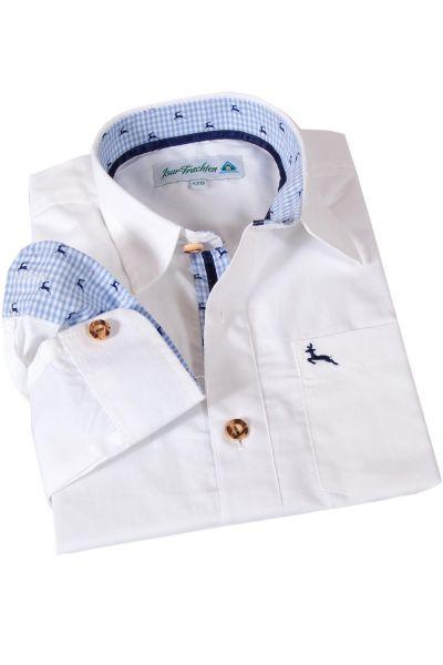 Kinder Trachtenhemd weiß mit blauen Hirschen