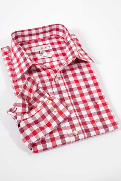 Trachtenhemd kariert in rot und bordeaux von Almsach