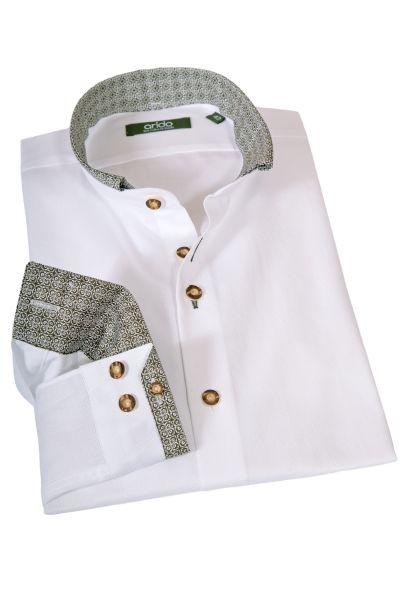 arido Trachtenhemd in weiß mit Stehkragen und grün
