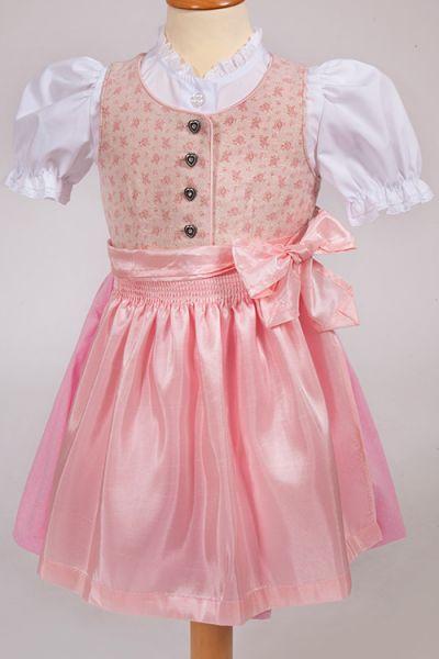 Babydirndl Sia in rosa mit Glitzer und Taftschürze