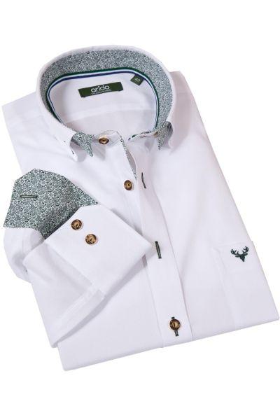 Trachtenhemd von arido in weiß mit grünen Details