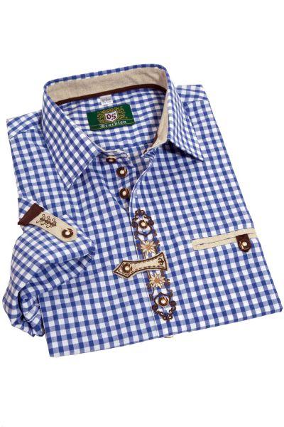 Herren Landhaus Trachtenhemd blau weiß