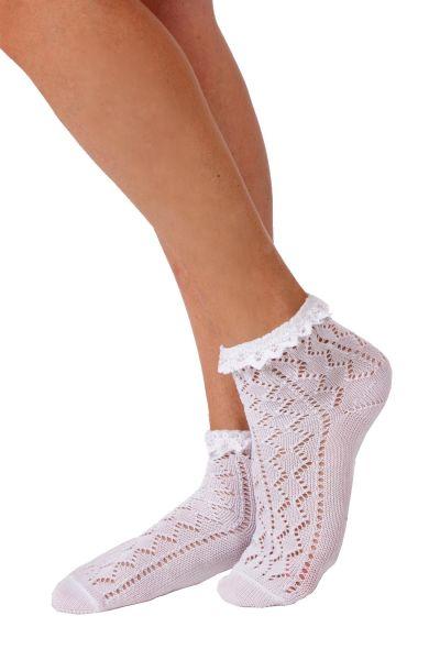 Damen Trachten Socken in weiß mit Rüsche