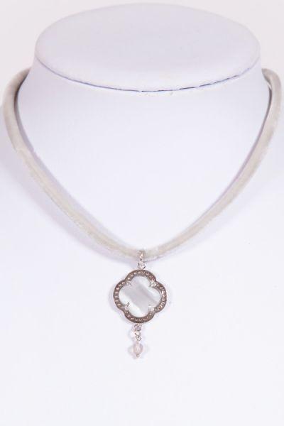 Trachtenkette Kleeblatt 925 silber mit weißen Steinen und hellgrau