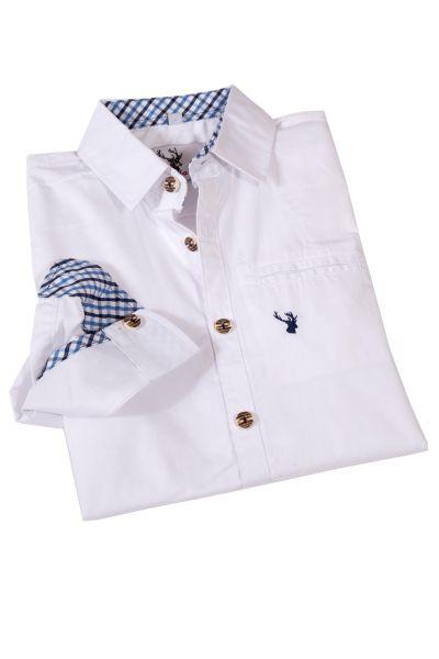 Kinder Trachtenhemd in weiß mit blauem Karo