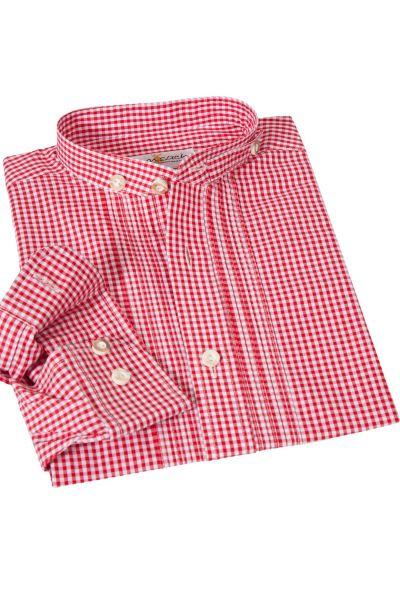 Kinder Trachtenhemd in rot kariert mit Stehkragen