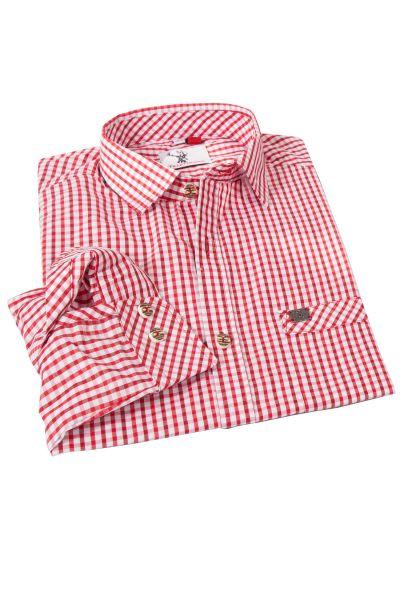 Trachtenhemd Kanu kariert in rot und weinrot