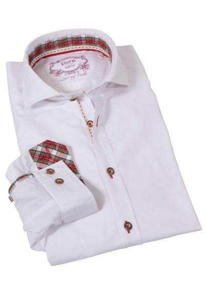 Trachtenhemd mit Stretch in weiß von pure