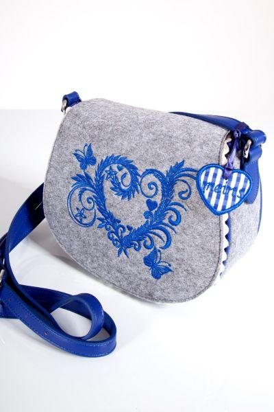 Trachtentasche aus grauem Filz mit blauen Details
