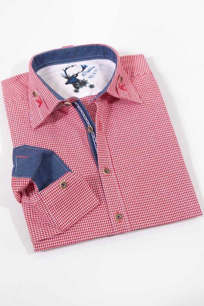 Trachtenhemd in Vichykaro rot weiß mit Stick