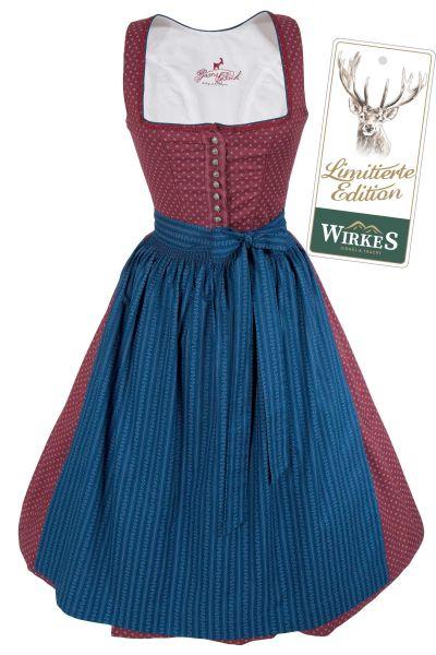 Midi Dirndl Bianca aus Baumwolle in rosenholz und blau