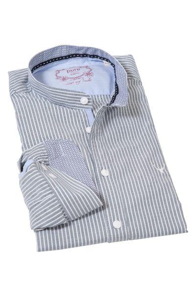 Edles Slim-Fit Trachtenhemd mit Streifen in tanne