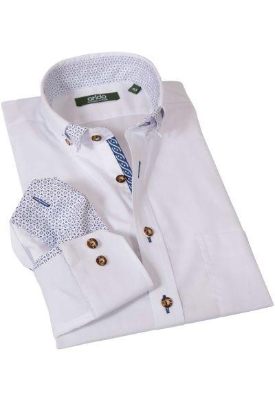 Trachtenhemd in rein weiß mit blauem Muster von arido