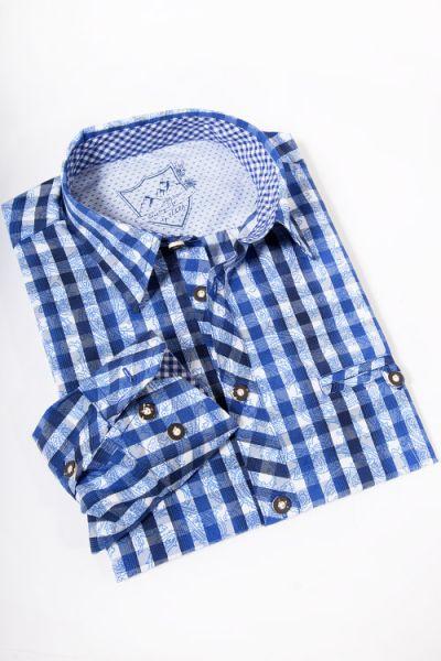 Trachtenhemd Antonius in navi / weiß mit blauem Paisley