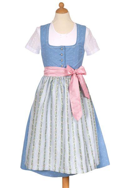 Kinderdirndl aus Baumwolle in hellblau mit Bluse