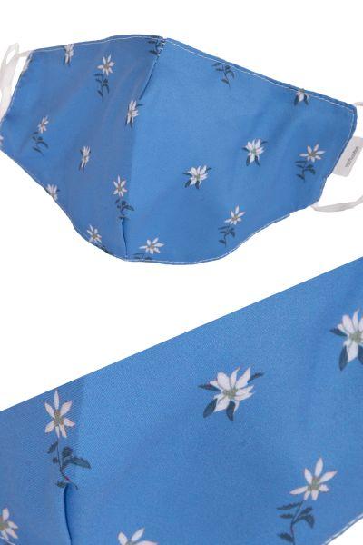 Trachten Mund Nasen Maske in blau mit Edelweiss