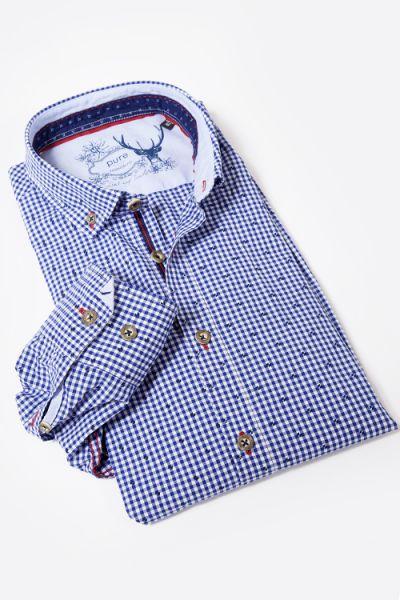 pure Trachtenhemd mit Karos in blau und weiß sowie Rauten