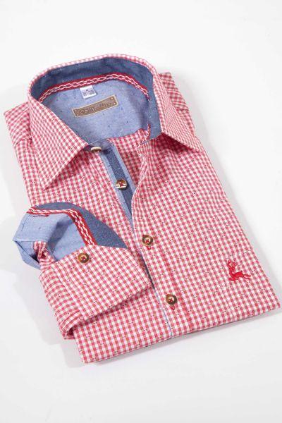 Trachtenhemd klein kariert in rot sehr elegant