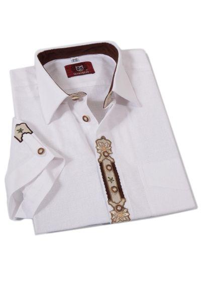 Landhaus Trachtenhemd Kurzarm in weiß